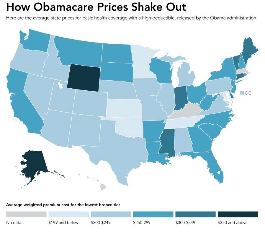 Image by Huffington Post. This graphic shows the cost of health care premiums state-by-state. It shows the average weighted cost for the least expensive policy on the bronze tier. Dark colors are the most expensive, light the leaSt.