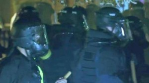 Police in Durham, dressed in riot gear, released tear gas into a crowd of protesters.