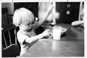 Michael, age 3, playing with his food.