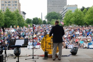 My friend and pastor, Rev. Joe Hoffman, speaks to more than 10,000 people gathered at  Mountain Moral Monday in 2013.